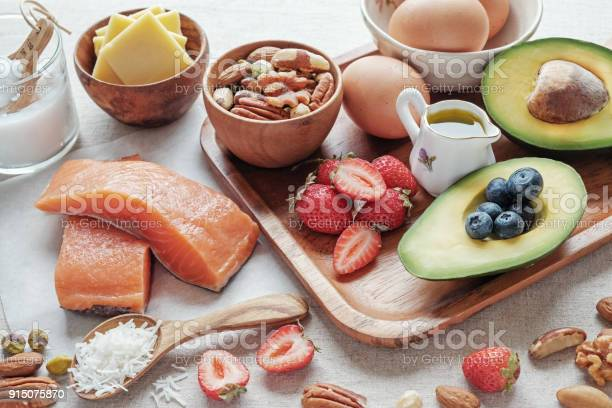 Keto Ketogenic Diet Low Carb High Good Fat Healthy Food Stock Photo - Download Image Now