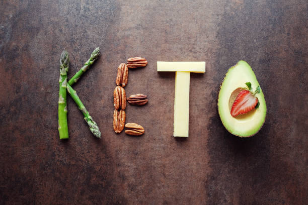 Keto word made from ketogenic food stock photo