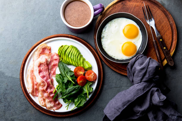 Ketogenic diet breakfast. fried egg, bacon and avocado, spinach and bulletproof coffee. Low carb high fat breakfast stock photo