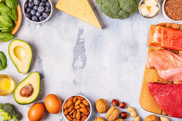 Ketogenic diet concept. Balanced low carb, high good fat Ketogenic diet concept. Balanced low carb, high good fat , healthy food. ketogenic diet stock pictures, royalty-free photos & images