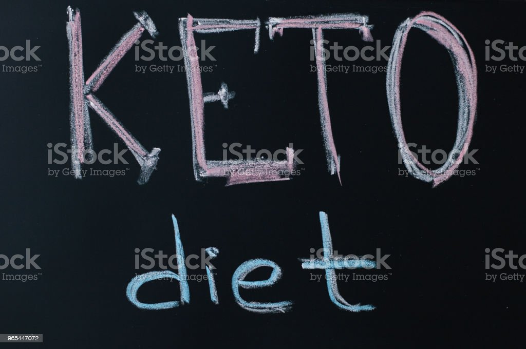 Ketogenic (keto) diet concept. Chalk board with text 'Keto diet'. Healthy eating and slimming. Nutrition royalty-free stock photo