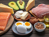 Ketogenic diet eating concept. Selection of good fat sources on wooden background