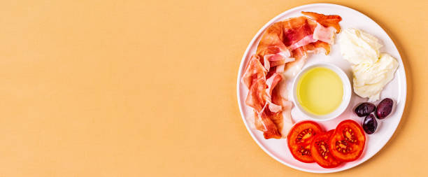 ketogenic diet food, healthy meal concept - bresaola foto e immagini stock
