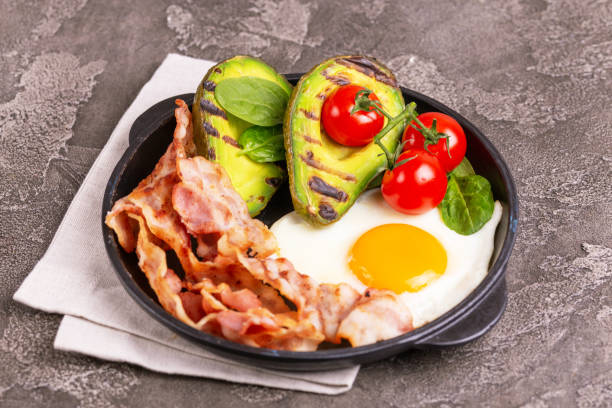 Ketogenic diet. Low carb high fat breakfast. Healthy food concept stock photo