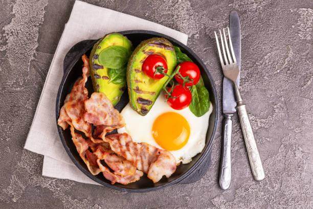Ketogene Diät. Low-Carb high fat Frühstück. Gesunde Ernährung-Konzept – Foto