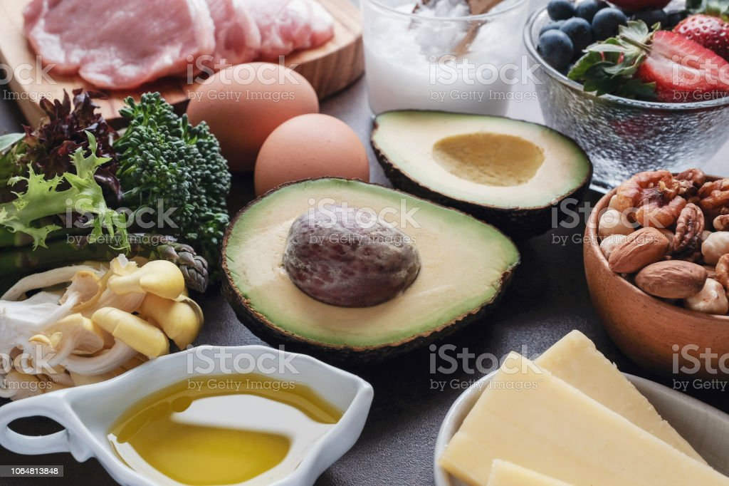 Ketogenic diet ,low carb, high fat, healthy food stock photo