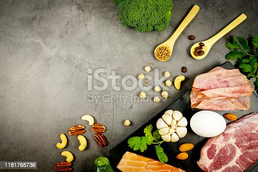 1129572695 istock photo ketogenic diet , low carbohydrate and keto meal plan . nutrition and calorie count for fiber, protein and fat. weight loss program . paleo food with salmon and omega3. 1181765736
