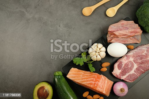 1129572695 istock photo ketogenic diet , low carbohydrate and keto meal plan . nutrition and calorie count for fiber, protein and fat. weight loss program . paleo food with salmon and omega3. 1181766335