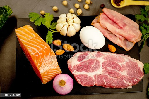 1129572695 istock photo ketogenic diet , low carbohydrate and keto meal plan . nutrition and calorie count for fiber, protein and fat. weight loss program . paleo food with salmon and omega3. 1181766405
