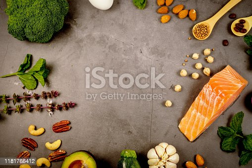1129572695 istock photo ketogenic diet , low carbohydrate and keto meal plan . nutrition and calorie count for fiber, protein and fat. weight loss program . paleo food with salmon and omega3. 1181766412