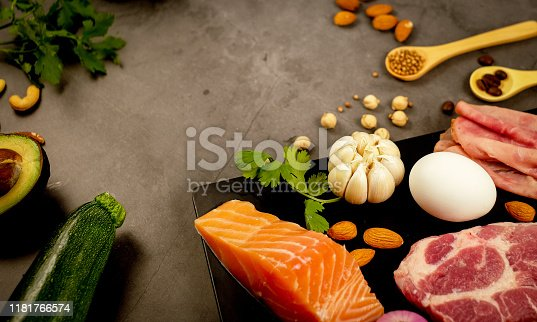 1129572695 istock photo ketogenic diet , low carbohydrate and keto meal plan . nutrition and calorie count for fiber, protein and fat. weight loss program . paleo food with salmon and omega3. 1181766574
