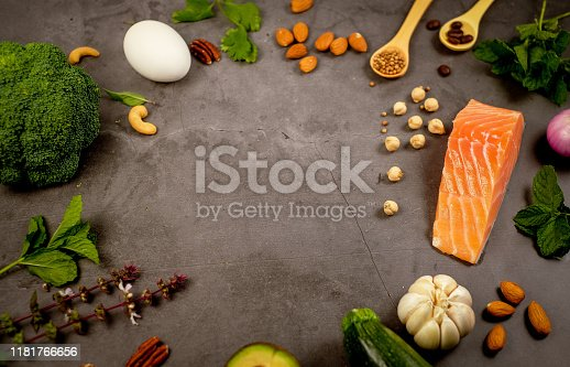 1129572695 istock photo ketogenic diet , low carbohydrate and keto meal plan . nutrition and calorie count for fiber, protein and fat. weight loss program . paleo food with salmon and omega3. 1181766656