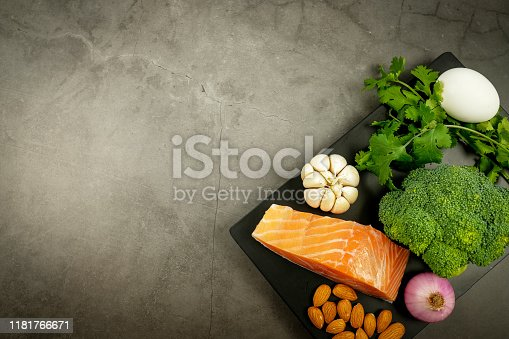 1129572695 istock photo ketogenic diet , low carbohydrate and keto meal plan . nutrition and calorie count for fiber, protein and fat. weight loss program . paleo food with salmon and omega3. 1181766671