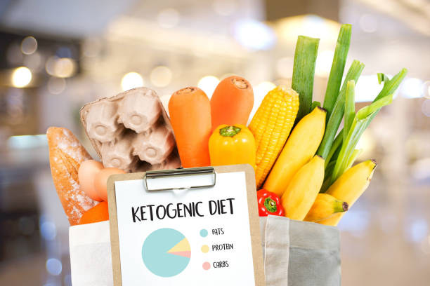 Ketogenic diet  Organic grocery vegetables Healthy low carbs stock photo