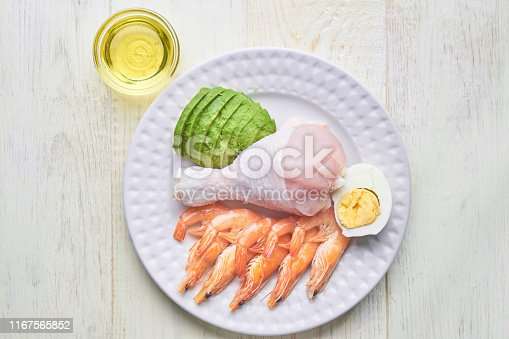 istock Ketogenic food concept - plate with high fat keto food 1167565852
