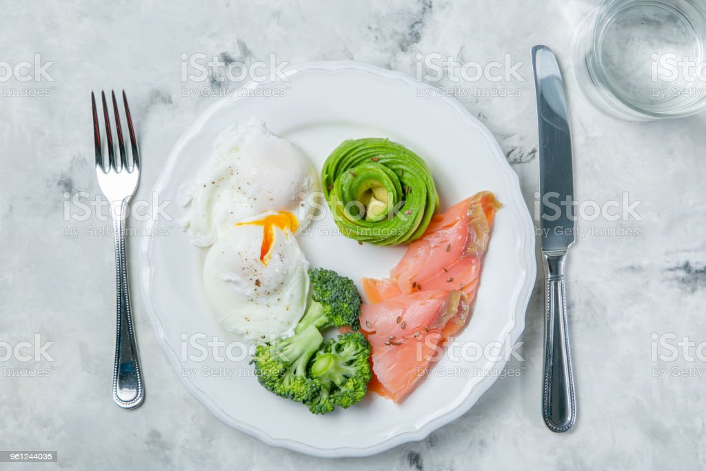 Ketogenic food concept - plate with keto food stock photo