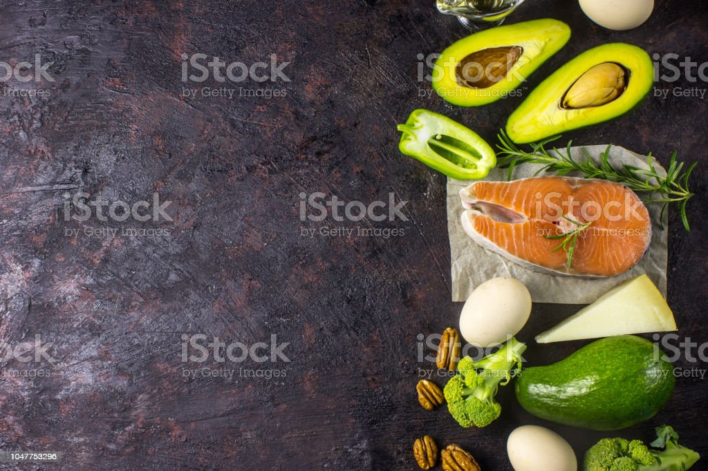 Ketogenic low carbs diet concept. Healthy balanced food with high content of healthy fats. royalty-free stock photo