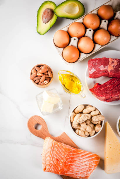 Ketogenic low carbs diet ingredients stock photo
