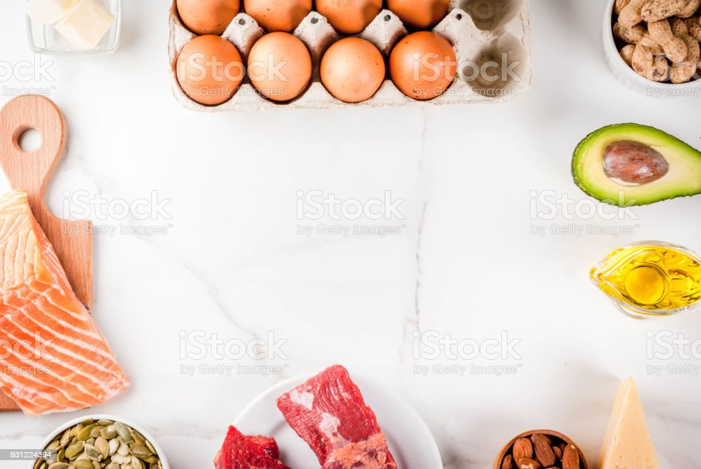 Ketogenic low carbs diet ingredients - Royalty-free Avocado Stock Photo