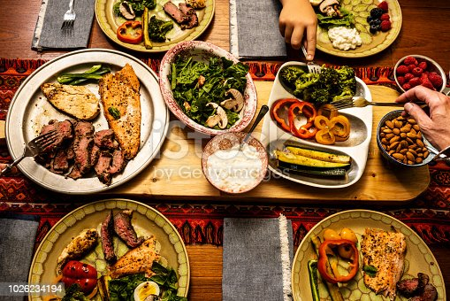A ketogenic meal laid out on a dining table with the hands of people serving themselves.  A keto diet is a low carb, high fat diet that avoids many fruits.