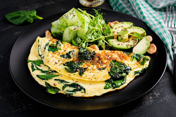 Ketogenic, paleo diet breakfast. Omelette with spinach and avocado, cucumber. stock photo