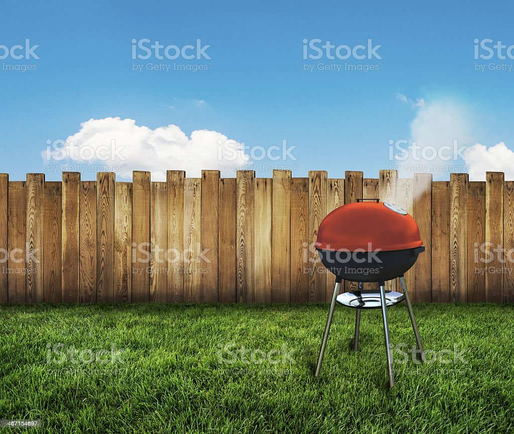 kettle barbecue grill stock photo