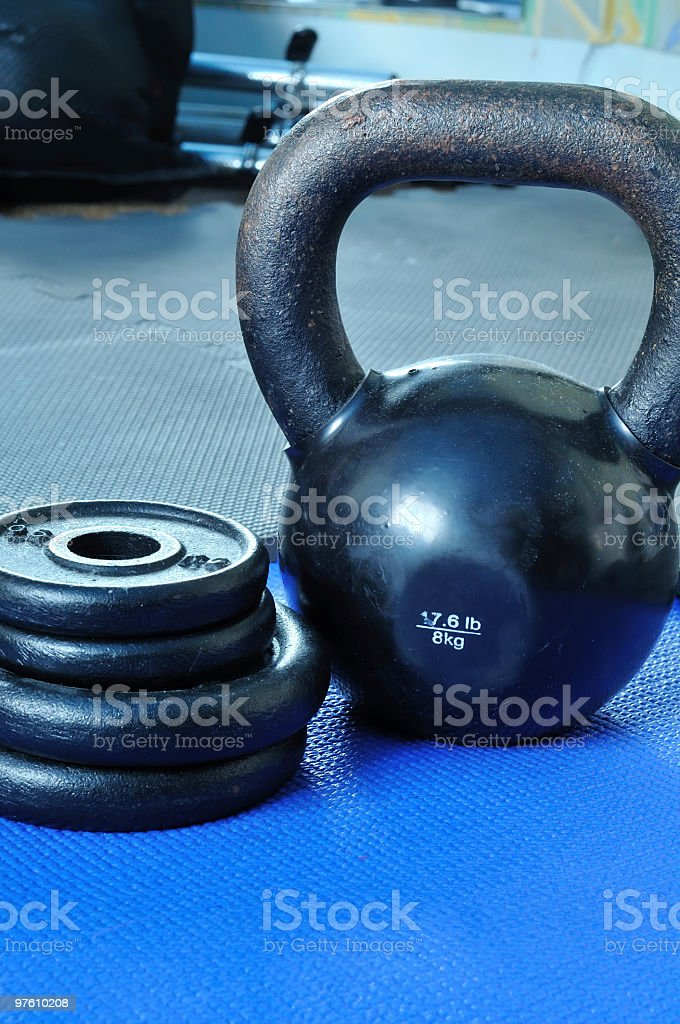 Kettle bell and Weight Plates royalty-free stock photo