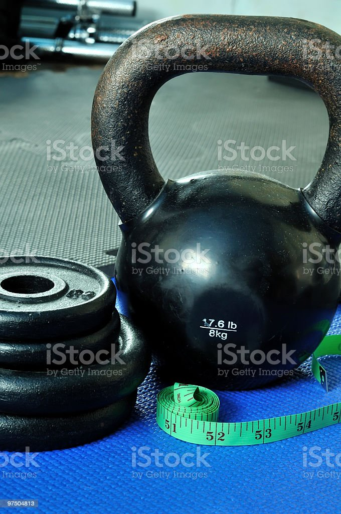 Kettle bell and weights royalty-free stock photo