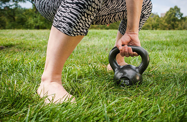 Kettle Bell on Lawn stock photo