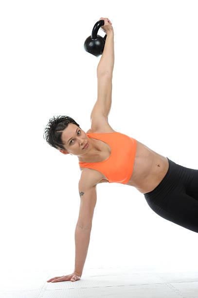 Kettle bell strength stock photo