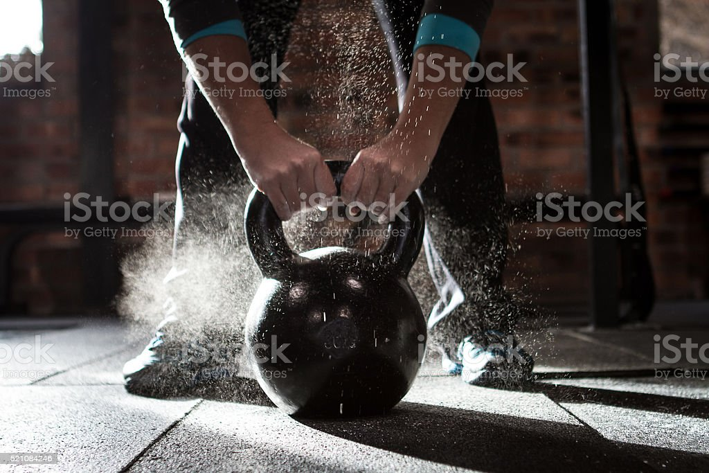 Kettle bell workout stock photo