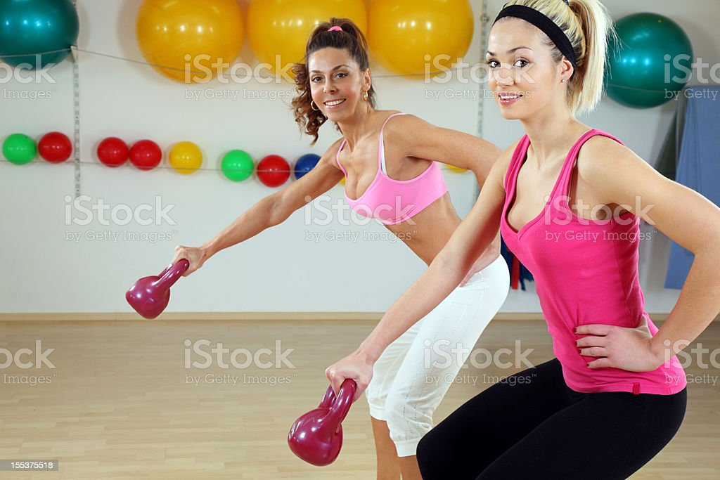 Kettle bells exercise royalty-free stock photo