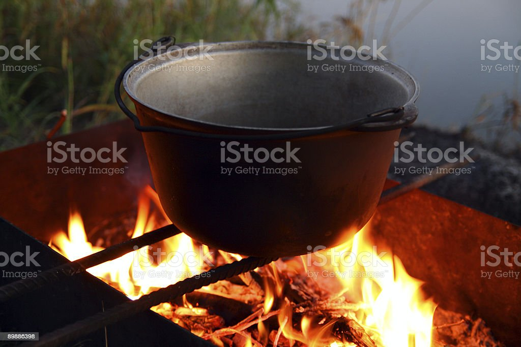 kettle over campfire royalty-free stock photo
