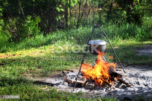 Kettle over campfire.