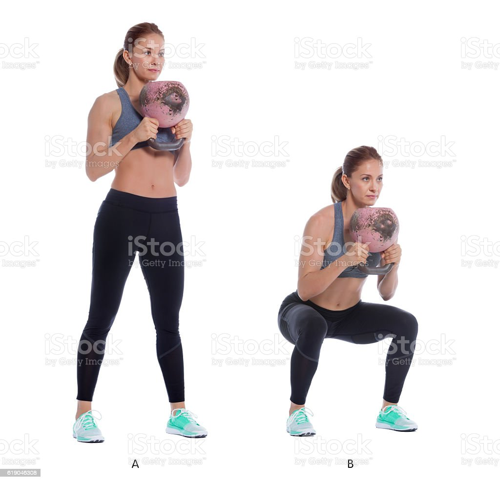 Kettlebell front squat stock photo