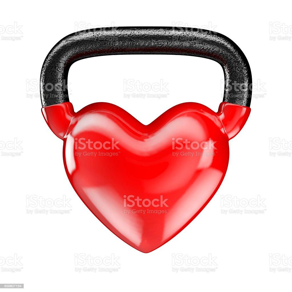 Kettlebell heart vinyl stock photo