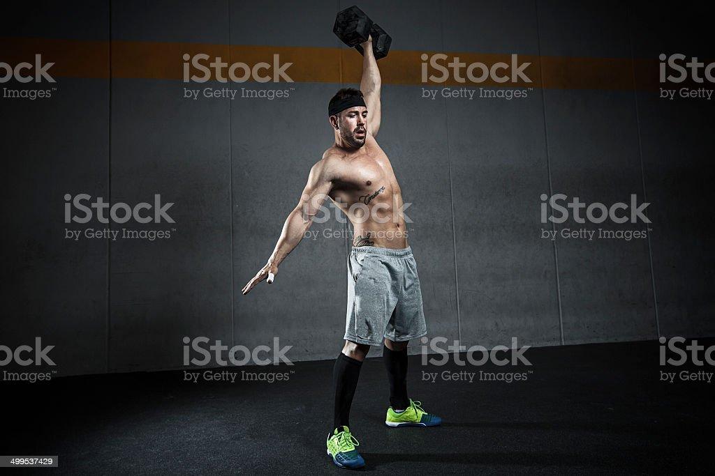 kettlebell snatch stock photo