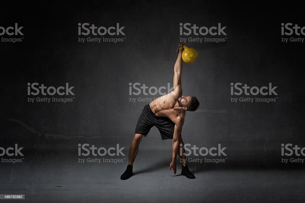 kettlebell training concept stock photo