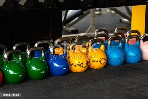 Multi colored Kettlebells in gym