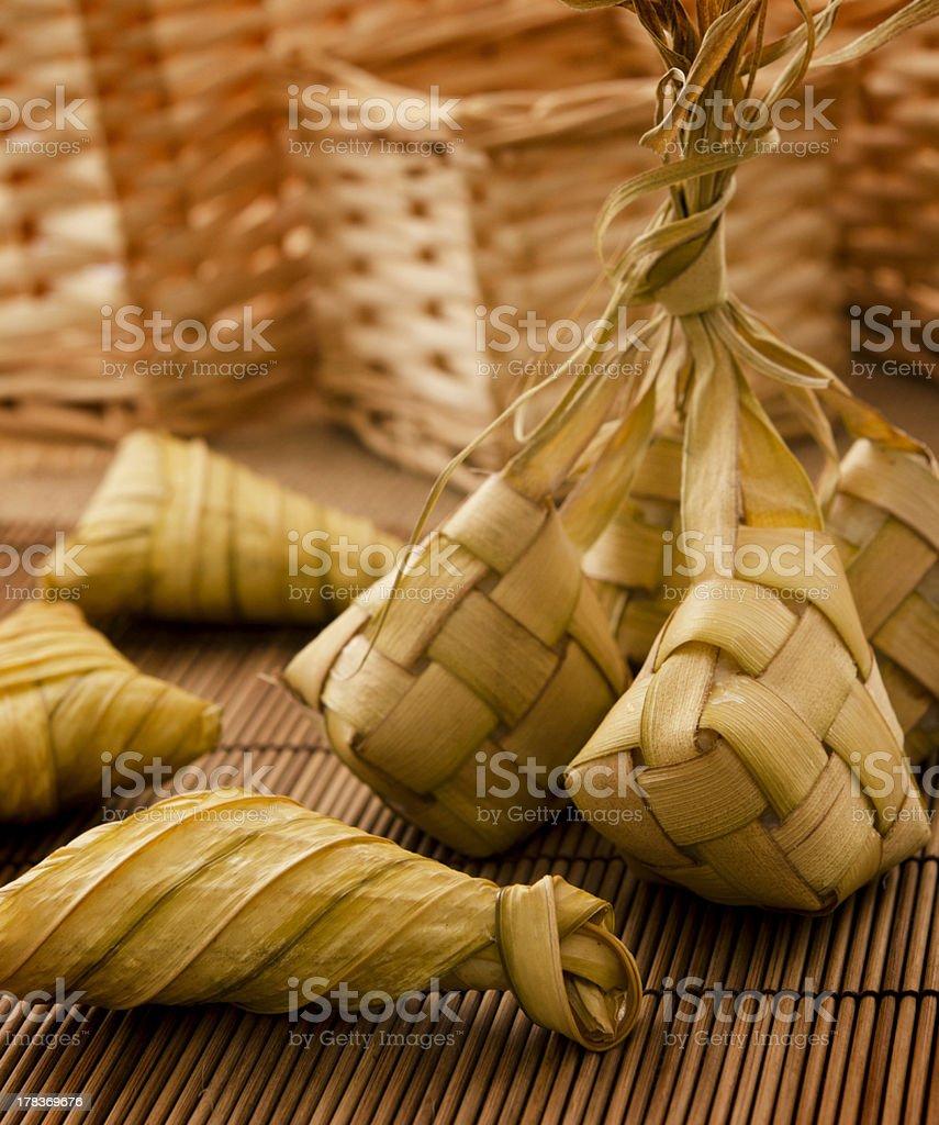 Ketupat or packed rice stock photo