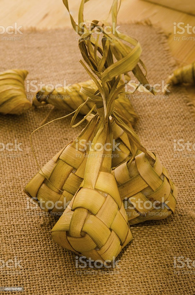Ketupat: South East Asian rice cakes bundle, often prepared for royalty-free stock photo
