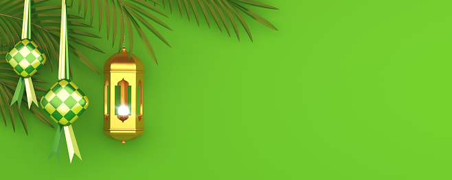 1130047135 istock photo Ketupat traditional food for eid mubarak or Selamat Hari Raya Idul Fitri in Indonesia or Malaysia, palm leaves on green, gold lantern background. Copy space text area, 3D rendering illustration. 1222851545