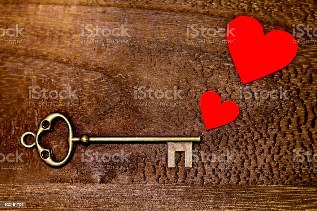 Key and Heart stock photo