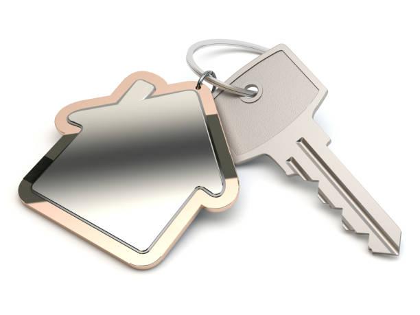 Schlüssel und Haus, 3D-Illustration – Foto