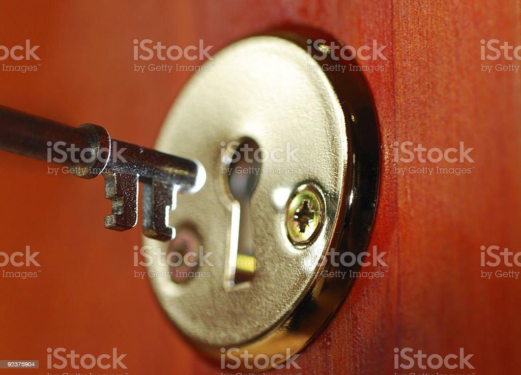 Key and keyhole royalty-free stock photo