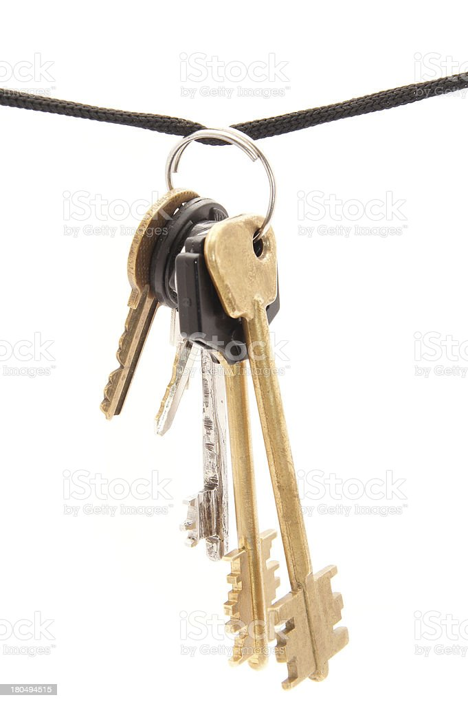 Key and rope on a white background stock photo