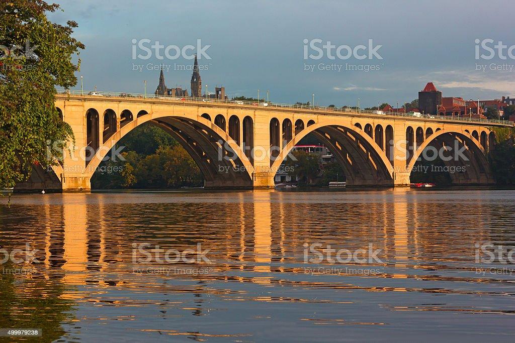 Key Bridge at sunrise in Washington DC. stock photo
