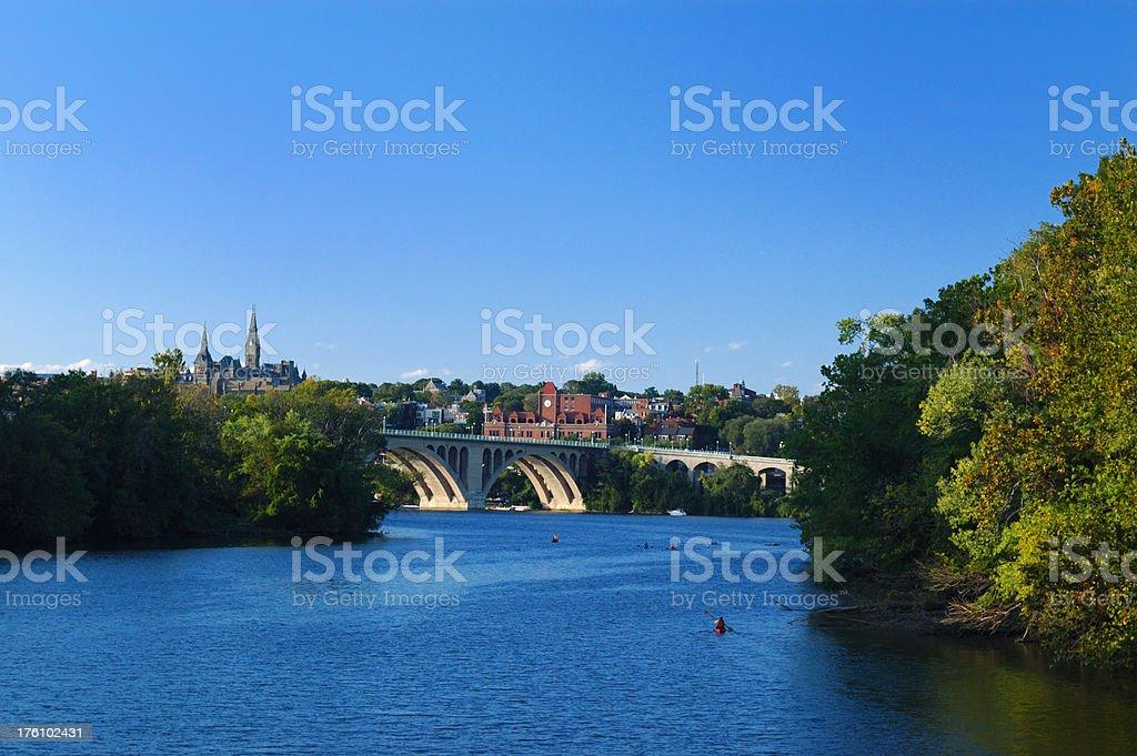 Key Bridge from Roosevelt Island stock photo