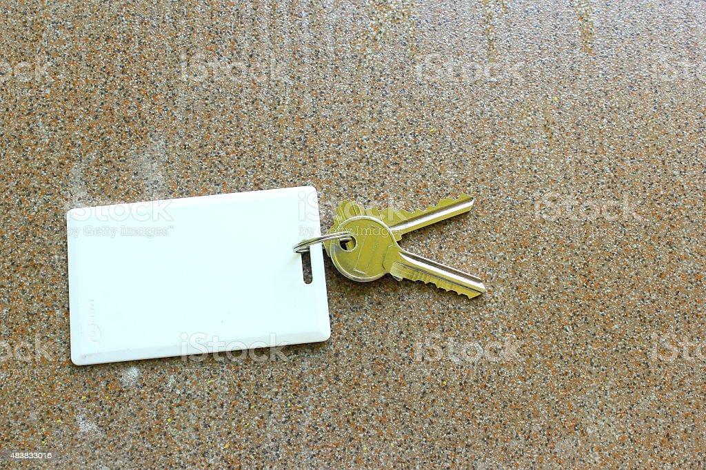 key card holder on tile background stock photo