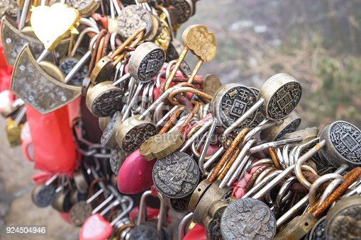 istock Key chain on bridge for lovers at Zhangjiajie National Forest Par 924504946